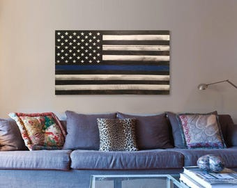 Thin Blue Line Pallet Flag, rustic reclaimed wood pallet American Flag
