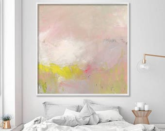 "ABSTRACT painting Giclee Fine Art Print, up to 40x40"", modern Painting Abstract Art, Acrylic Painting light pink yellow"