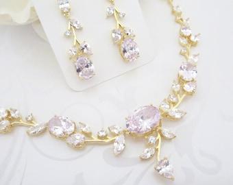 Rose Gold necklace Rose Gold Bridal jewelry set Wedding