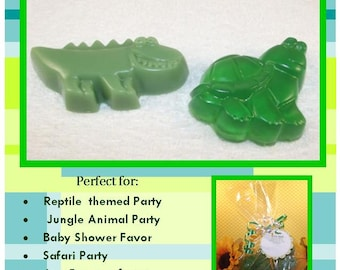 Alligator And Turtle Glycerin Soap Set, Reptile Birthday Party Favors, Alligator Baby Shower, Wedding Favor