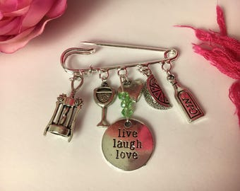 Friends Live Laugh Love brooch ~ Quirky kilt pin ~ Gin and Tonic o'clock ~ Silver plated ~ Unusual gift for girlfriends x