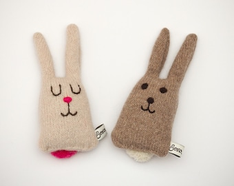 Boris and Betty Lavender Lambswool Bunnies - Made to order