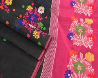 KK Vintage Indian Saree Silk Blend Hand Woven Black Craft Fabric Sari 5 Yard