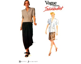 80s Vogue Individualist 2312 Betty Jackson Loose Fitting Top and Wrap Skirt in Two Lengths, Uncut, Factory Folded, Sewing Pattern Size 12-16