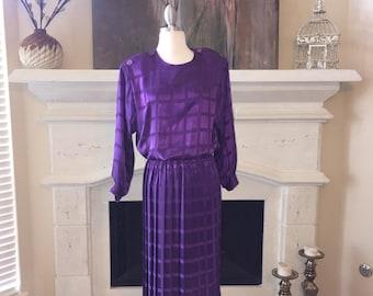 Vintage Purple Square Patterned Pleated Secretary Dress ~ Size 12
