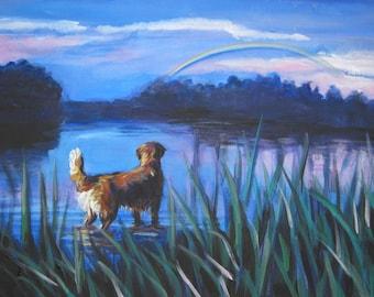 Golden Retriever dog art CANVAS print of LA Shepard painting 8x10