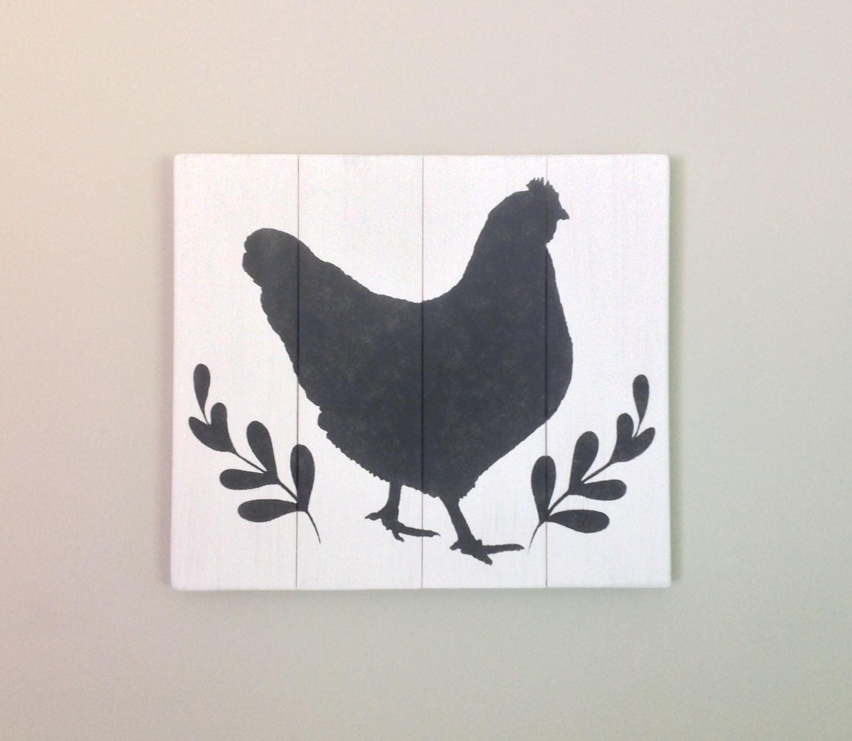 Chicken sign chicken silhouette rooster sign kitchen decor farmhouse ...