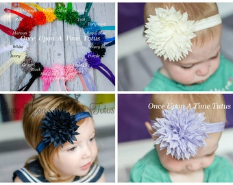 Pick One (1) Chiffon Fabric Flower Headband - Photo Prop Hair Accessories - Newborn Baby Hairbow - Puff Little Girls Hair Bow Accessory