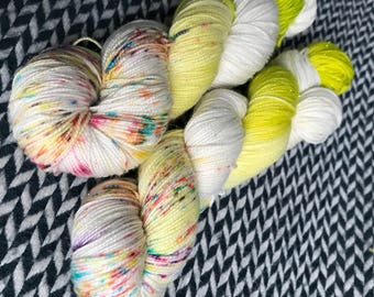 Hand-dyed yarn, Indie dyed yarn, hand dyed yarn CALAVERA PUPPY -- dyed to order -- Times Square sock merino/ nylon yarn