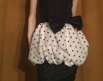 XS Vintage new wave 80s black &white bubble dress with polka dots