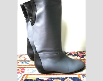 New flat gray-blue and black leather boots flexible /vintage years 70-made in Italy/RB / size US 4 UK 2 35