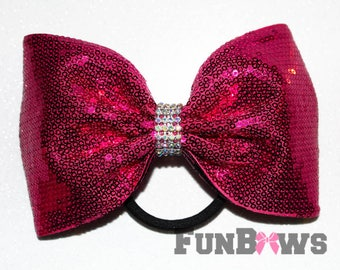 Gorgeous X-Large Hot Pink Sequin  and rhinestone tailless bow by FunBows !!!
