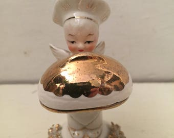 Rare Porcelain 50's antique vintage Japan angel child figurine with happy birthday cake on a domed serving platter
