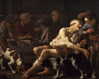 Hendrick Ter Brugghen: The Rich Man and the Poor Lazarus. Fine Art Print/Poster. (002151)