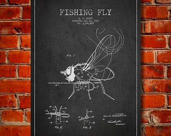 1968 Fishing Fly Patent, Canvas Print, Wall Art, Home Decor, Gift Idea