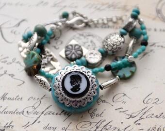 Multi Strand Turquoise Bracelet, Silver Bracelet, Cameo Jewelry, OOAK Handmade Bracelet, Turquoise and Silver Charm Bracelet, SRAJD