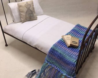 Shabby Chic Handmade Miniature Dollhouse TWIN Bed Throw - Multi Colored - Pick A Color