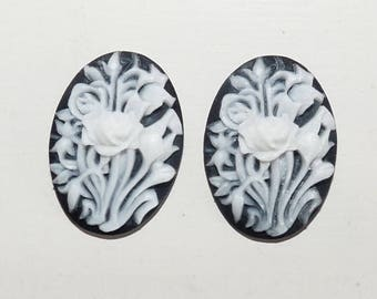3 oval cabochons cameo black Fleur Blanche resin to create 2.4 x 1.7 cm pink girly jewelry chic