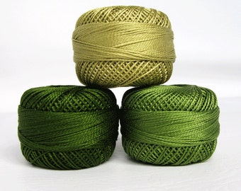 Perle Cotton Thread Set - Size 8 Finca Pearl Cotton by Presencia - Green - Dark Green - Light Green - Yuletide 9