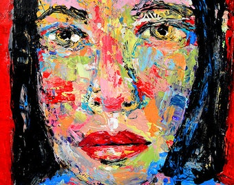 Red Impasto Portrait Palette Knife Painting. Mixed Media Collage Art. Gift For Her Apartment. Small Painting. Rainbow Colors