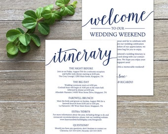 Wedding Itinerary Navy, Welcome Letter Template // Printable Welcome Bag  Note // Welcome