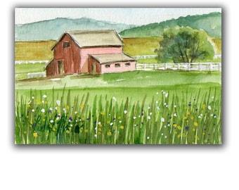 Morning Red Horse Barn Artwork  Acrylic LLMartin Original Watercolor Painting Virginia Country  Free Shipping USA