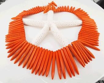 Full Strand Approx 80pcs 20-48mm Orange Howlite Spike Beads Spike Stick Beads Toothpick Beads