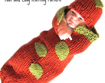Knitting PATTERN - Baby Pumpkin Cocoon PDF - Infant Costume - Fast Easy diy