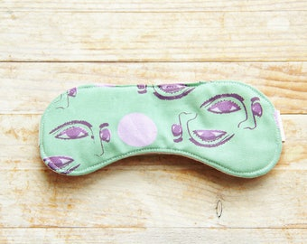Sleep mask eye night bed beauty travel accessory 5 options hand printed cotton green pink purple white gray bridesmaid Father's Day gift
