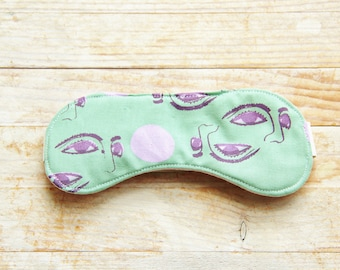 Sleep mask eye night bed beauty travel 6 opt hand printed cotton green pink purple white bridesmaid mothers Valentine's day gift for her him