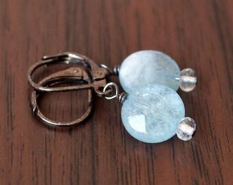 Aquamarine Earrings, Drop Earrings, Powder Blue, Wire Wrapped, March Birthstone, Black Gunmetal Leverback Earwires, Real Gemstone Jewelry