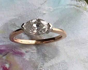14K Natural 1 ct.  Marquise Diamond Ring size 6.25