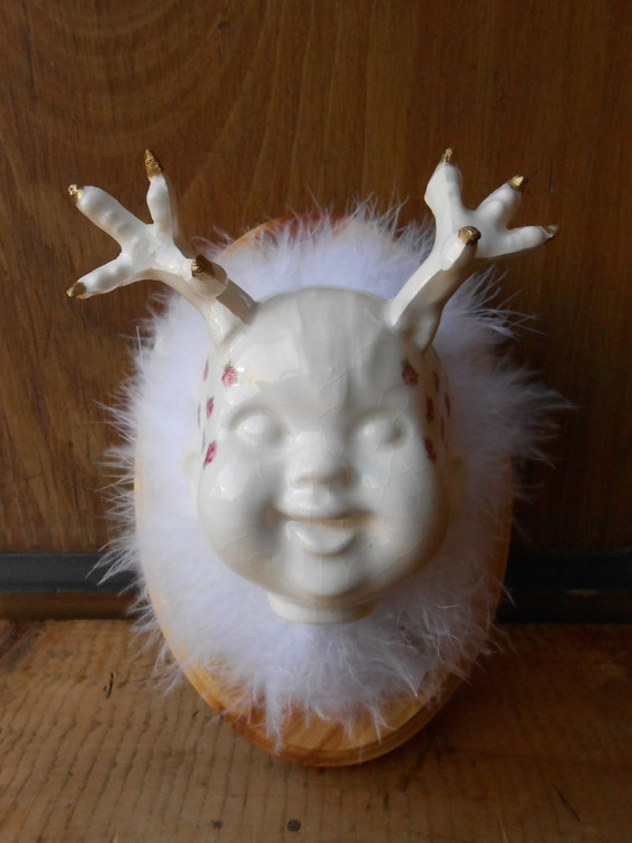 Chicken Little Taxidermy Baby Head Slip Cast Sculpture