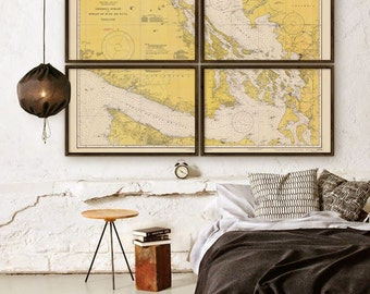"Washington Sound map 1941 old nautical chart of Georgia Strait, Juan de Fuca in 1 or 4 prints up to 90x60"" - Limited Edition of 100"