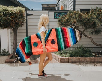 Orange Surf Sock / Upcycled Mexican Blanket Surfboard bag / Striped Surfboard Sock / Handmade Surf Board Bag from Mexico / Great Surfer Gift