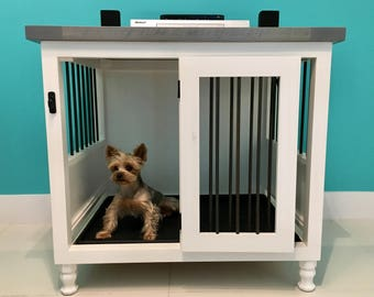 Dog Kennel Shabby Rustic Finish Dog Crate Pet Furniture