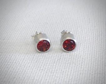 Garnet Stud Earrings - Sterling Silver - Modern Earrings - Silver Earrings - January Birthstone - Gift For Her - Handmade Earrings