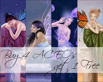 Buy 4 ACEO's get 1 FREE limited edition fantasy art prints