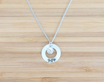 hand stamped necklace   small washer mom + birthstone