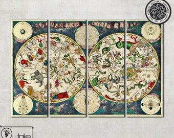 """Old Celestial Map, Astrology wall map on 4 panel canvas - ready to hang interior design element 47"""" x 31,5"""", 026"""
