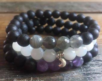 Witchy Stack of 3 Spiritual Junkies Black Sandalwood, Labradorite, Amethyst, Lava, Moonstone + Sterling Silver Crescent Moon Yoga Bracelet