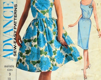 Uncut 1960s Advance Vintage Sewing Pattern 3477, Size 10;Junior and Misses' Dress With Two Skirts