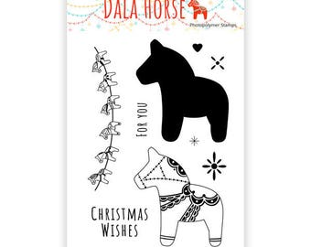 Dala Horse Photopolymer Stamps – Horses. Christmas stamp set, horse stamps, garland stamps, bunting stamp, star stamps, christmas wishes