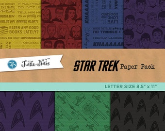 Star Trek Letter Sized Paper Pack : 42 Printable Digital Scrapbook Paper with Paper Texture