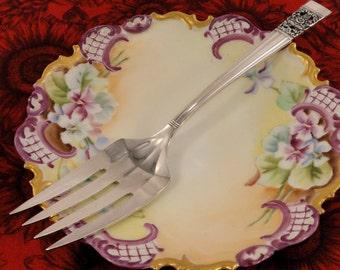 Oneida Community Coronation Meat Serving Fork Vintage 1936 Art Deco Silver Plate Flatware Silverware Silverplate