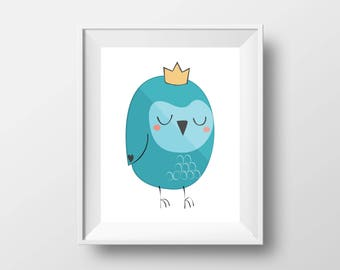 Baby owl owlet,  printable wall art