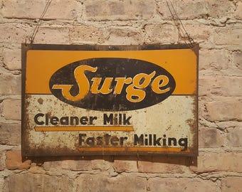 Vintage Surge Milker Sign Rustic Farmhouse Decor