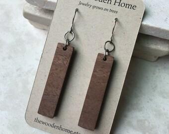 Titanium Wood Earrings - Wood Dangle Earrings - Portland Jewelry - Wood Bar Earrings - Grade 1 Titanium Hooks - 6th Anniversary Gift for her