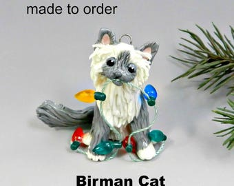 Birman Cat Christmas Ornament Figurine Made to Order in Porcelain