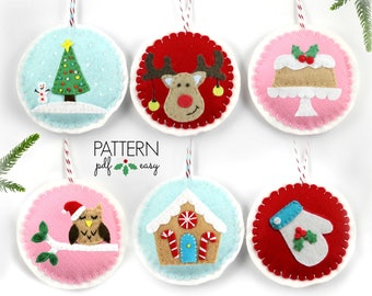 Christmas Ornament Pattern, Felt Christmas Ornament, DIY Christmas. Christmas Decoration Pattern, Christmas Ornament Set